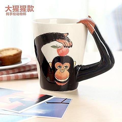 ZIMEI Fatto a mano 3D Gorilla in ceramica tazze, tazzine, ad alta temperatura, forno a microonde 420ml , 2 set - Starbucks Tazze E Tazzine
