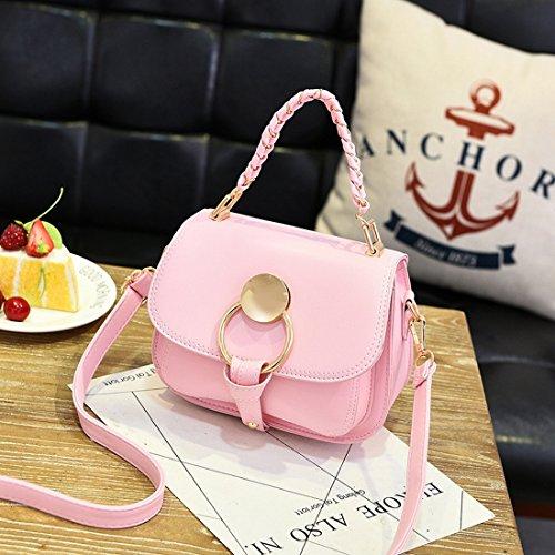 Weibliche Beiläufige Handtasche Reine Farbe Schulterdiagonalpaket Rosa