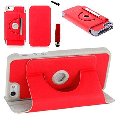 VCOMP® Etui Coque Housse avec support Et Rotation 360° en cuir PU pour Apple iPhone 5/ 5S/ SE + stylet - ROUGE ROUGE1 + mini stylet