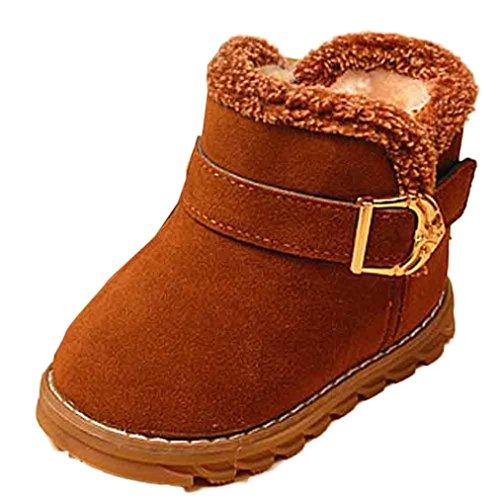 Kinderschuhe Longra Mode Winter Baby Kinder Stil Brief Stiefel warme Schnee Baumwolle Stiefel (1-6 Jahre) Brown