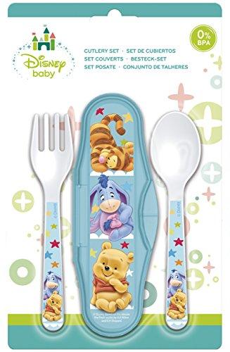 Unbranded 8018218 Set DE 3 Pieces DE Couverts Winnie Baby Bleu en PLASTIQUE-8018218 Plastique, 23 x 14,9 x 25 cm