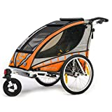Qeridoo Q3000A-Orange Sportrex 1 Kinder-Fahrradanhänger (1 Kind) - orange