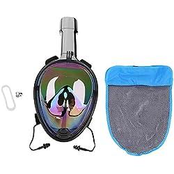 Sugoyi Masque Complet de plongée en apnée, Masque de plongée pour la plongée en apnée Masque Complet de plongée Anti-Fuite avec Vue à 180 ° avec Monture pour Gopro(L/XL)
