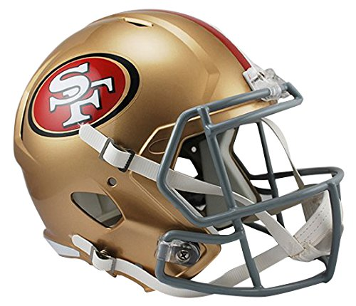 NFL San Francisco 49ers Riddell Full Size Replica Speed Helm, Medium, Gold (Riddell Helm)