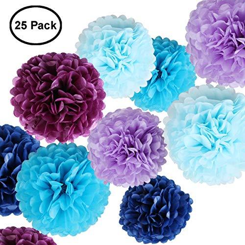 Erosion Seidenpapier Blumen - Papier Pom Poms für das Handwerk - große hängende Pom Poms für Partydekorationen, Hochzeit Hintergrund, Home Decor - blau -