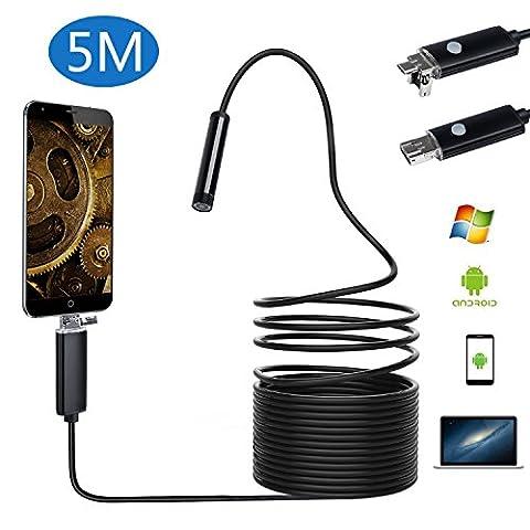 Endoscope USB portable 2 en 1 Digital OTG Micro USB Borescope / CMOS HD imperméable caméra d'inspection de serpent avec 6 lumières LED pour Android 4.1+ téléphone portable tablette et ordinateur système Windows [5M