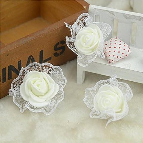 30pcs Mini mousse avec têtes artificielles Dentelle Rose Fleurs pour