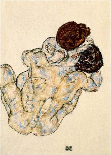 Poster 30 x 40 cm: Umarmung von Egon Schiele / akg-images - hochwertiger Kunstdruck, neues Kunstposter