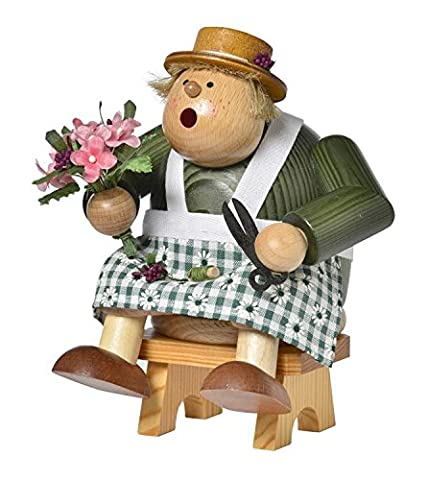 KWO Chubby Sitting Florist with Flowers German Wood Christmas Incense Smoker