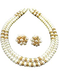 Sri Jagdamba Pearls Gold-Plated Multi-Strand Necklace For Women (White)