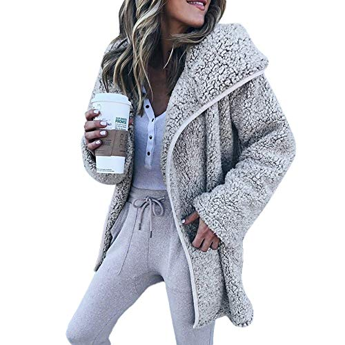 URSING Mantel Damen Winter Langarm Kapuzenpullover Strickjacke Hoodies Cardigan Sweater Casual Jacke Mantel Wollmantel Freizeitjacke...