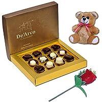 De'Arco Chocolatier Chocolates Valentine Day Gift for Girlfriend Boyfriend Husband Wife, Premium Luxury Chocolates, 12pcs + Free Rose & Teddy