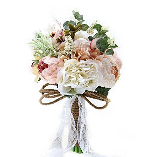 zantec romántico elegante novia ramo flores artificiales boda hogar fiesta decoración regalo