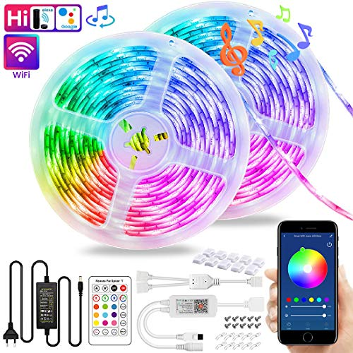 Wi-Fi LED Streifen Kit, VOYOMO 10M Smart LED Stripes RGB 300LEDs SMD5050, Sync mit Musik und Steuerbar via App, Kompatibel mit Alexa Google Home und IFTTT IP65 für Deko Party Weihnachten