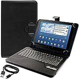 kwmobile Funda con teclado QWERTY para Samsung Google Nexus 10 con soporte - Funda protectora de piel sintética para tablet en negro