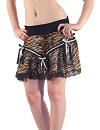 Animal Zebra Print Sexy Skater Mini Party Skirt with Waist garter