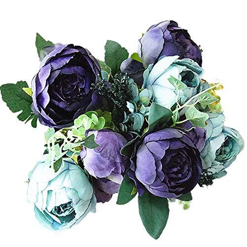 topxingch Künstliche Pfingstrose, für Zuhause, Garten, Bühne, Blumen-Arrangement, Wohnzimmer-Dekoration, Blau