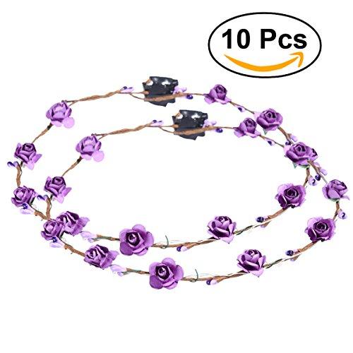 frcolor Blumen Kranz Krone Glow Girlande Kopfband mit LED für Festival Hochzeit Party