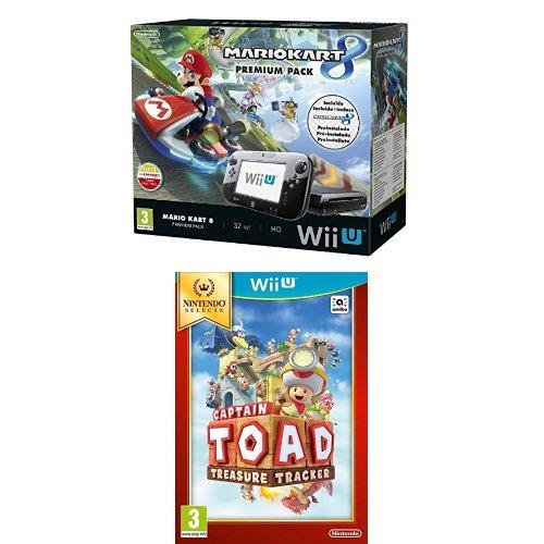 Nintendo Wii U - Consola Premium Pack Mario Kart 8 (Preinstalado) + Captain Toad (Físico)