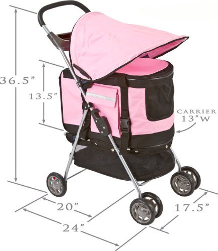 Valentina Valentti PET STROLLER, PUSHCHAIR FOR PETS IN PINK COLOUR, all in one pet stroller, pet carrier, dog car seat 3