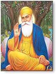 Yaya Cafe™ 12x9 inches Blissful Guru Nanak Dev Ji Sikhism Sikh Guru Canvas Wall Painting Hangings Gurpurab