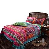 Ustide Heimtextilien 3-teiliges Marken-Set Bettwäsche mit Deckenbezug in buntem Boho-Stil zu 100 % aus hochwertiger Baumwolle, baumwolle, Color 2, King Size