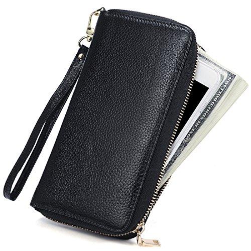 Huztencor Große Geldbörse Damen Clutch Portemonnaie Lang Leder Geldbeutel Frauen Portmonee RFID Schutz Brieftasche Geldtasche mit Reißverschluss und Handschlaufe Schwarz (Multi-pocket Damen-geldbörse)