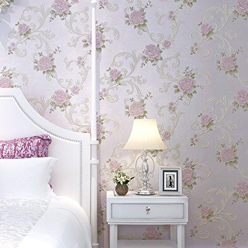 Reyqing Non-Woven Tapeten Luxus Im Europäischen Stil Garten Zimmer Restaurant Sofa Jane Non-Woven Tapeten, Lavendel (Fashion Luxus-wear)