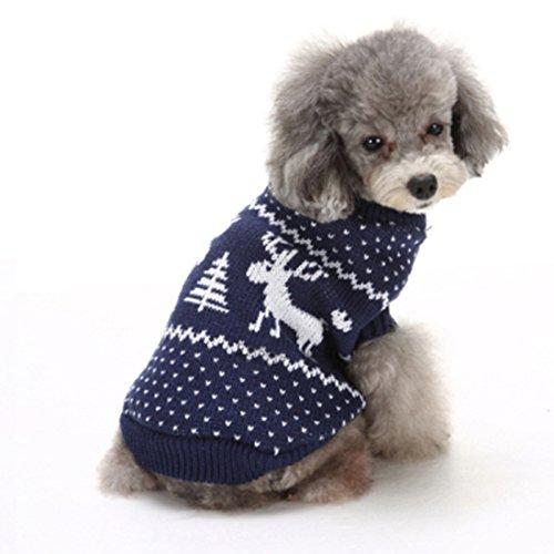 GWELL Hundepullover Hundepulli Hundekleidung Winter Jacke Warm Strick Sweater Weihnachten Halloween Kostüm Blau Elch (Halloween Elch Kostüme)