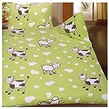 Biancheria da letto di estate dei bambini neonati 100 x 135 + 40 x 60 cm, motivo: Mucche e pecora, per culla, microfibra (42920)