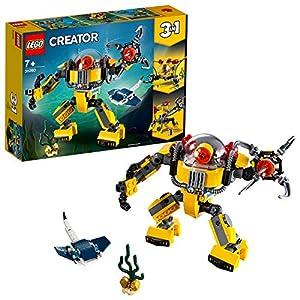 LEGO Creator RobotSottomarino, Gru e Sottomarino,Set di Costruzioni 3in1per Avventure Sottomarine, con Pesce Razza, Giocattolo per Bambini dai 7 Anni in su, 31090  LEGO