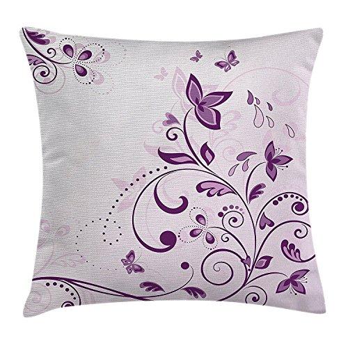 Mauve Decor - Funda de cojín, diseño de hojas espirales con mariposas voladoras, flores inspiradoras, imagen de belleza floral, funda de almohada decorativa cuadrada, 45,7 x 45,7 cm, color lila