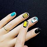 GBDSD Nail Wraps Gold Schwarz Silber Buchstaben Animal Print Fingers Zehen Vinyl Folien Lovely Trendy Style Blue Kreative Geschenkideen , B Bild