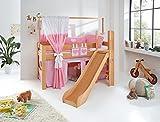 Relita Spielbett Leo, Buche massiv mit Rutsche und Leiter Herz weiß/rosa