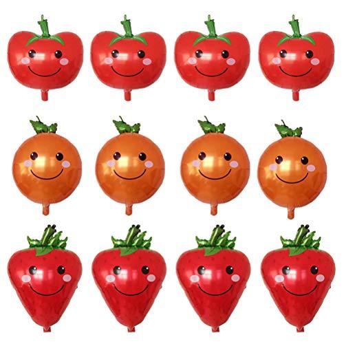ie Luftballons Gemüse Obst geformt Luftballons Party Supplies 12 Stück (Erdbeere, Orange, Tomate, 4 Stück) ()