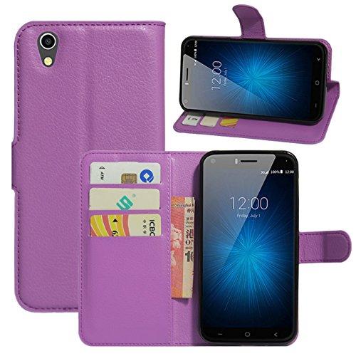 HualuBro UMIDIGI London Hülle, [All Aro& Schutz] Premium PU Leder Leather Wallet Handy Tasche Schutzhülle Case Flip Cover mit Karten Slot für UMIDIGI London 5.0 Inch 3G Smartphone (Violett)