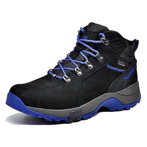 nihiug Männer High-Top Wanderschuhe Trekking Schuhe Professional Die Erste Schicht Aus Leder wasserdichte Outdoor-Schuhe Warme Schneeschuhe,Black-39 - Suite Die Black Männer,