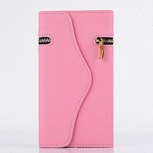 """inShang Hülle für Apple iPhone 6 iPhone 6S 4.7 inch iPhone6 iPhone6S 4.7"""", Cover Mit Reißverschluss + Errichten-in der Tasche + Rivet Decoration, Edles PU Leder Tasche Skins Etui Schutzhülle Ständer S zipper pink"""