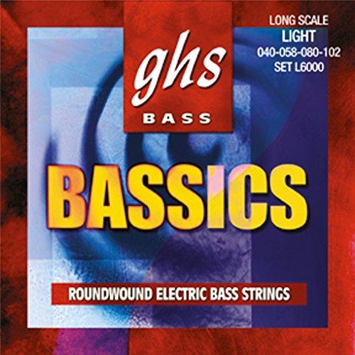 CUERDAS BAJO ELECTRICO GHS (ML/6000) BASSICS/MEDIUM LITE (JUEGO COMPLETO 044/063/080/102)