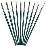 10-teiliges hochwertiges Profi Nailart- und Modellage Pinsel-Set (grün) für Onestroke und Nagelmodellage - Gel Pinsel - Acryl Pinsel