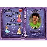 Tortenaufleger Fototorte Tortenbild zum Geburtstag Motiv: Prinzessin (Zuckerpapier) DIN A4 Buchform Violett