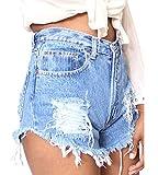 Damen Denim Kurze Jeans Heiß Hosen Hohe Taille Jeans Shorts Unregelmäßigen Loch Hellblau 32EU