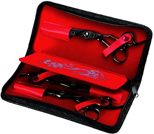 Olivia Garden Dragon Scherenset mit 3 Scheren für Rechtshänder - Dragon Scheren