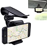 Huhuswwbin Porta Cellulare 360 Rotating Car Sun Visor Phone Clip Holder Supporto Per Iphone Samsung Gps - Nero