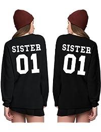 Zarlena Damen Sweatshirt Sweater Pullover Sister 01 Schwester Partner Einzeln oder Doppelpack