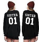 Zarlena Damen Sweatshirt Sweater Pullis für Zwei Mädchen 2 Pullover Sister 01 Schwester Partner SISW01-BLK-M