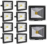 Leetop 10X 20W 30W 10W LED Fluter Warmweiß Strahler Garten Flutlicht Scheinwerfer Außenstrahler Wandstrahler Aluminium IP65 Wasserdicht(20 Watt)