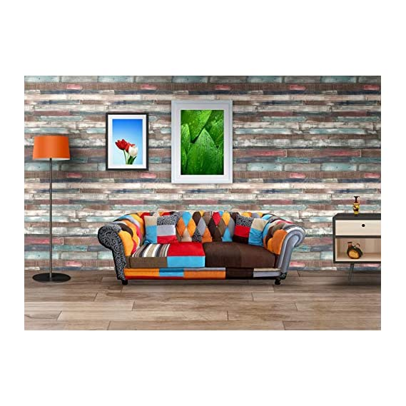 Lifestyle-You? Wall Sticker Wallpaper Self Adhesive Matte Finish Wallpaper. Rustic Colourful Wooden Planks Design.