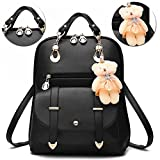Women Backpack with [Cute Bear Bag Charm], Bonice Fashion Shoulder Bag Vintage PU Leather School Bags Casual Travel Daypack Shopping Bags for Teenage Girls Gifts for Ladies Women - Black