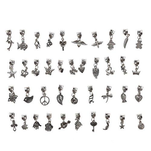 sevenmye 40 Mix Bulk viele Antik Silber Charm Anhänger Kollektion, Armband Halskette Vintage Schmuck Erkenntnisse für DIY Schmuckherstellung und,, Stil 3 (Behandeln Hund Vintage)